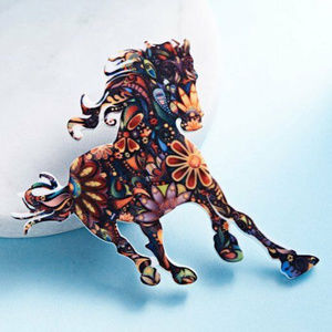 HORSE BROOCH - TRIPPY PIN - Festival Rave Fashion
